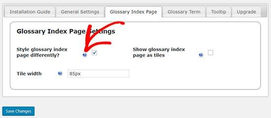 Configuración de la página de índice