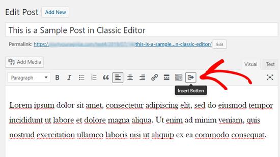 Insertar icono de botón en el editor clásico de WordPress