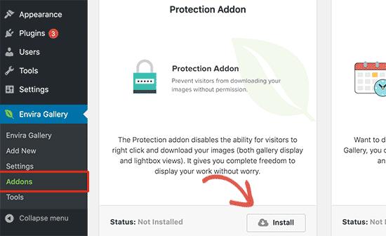Instalar complemento de protección