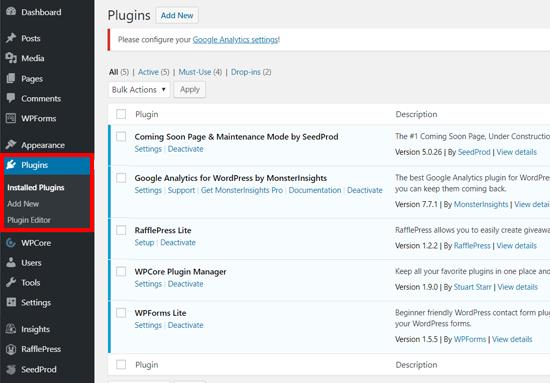 Página de complementos instalados en WordPress