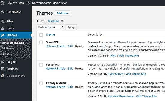 Témy nainštalované vo vašej sieti viacerých miest WordPress