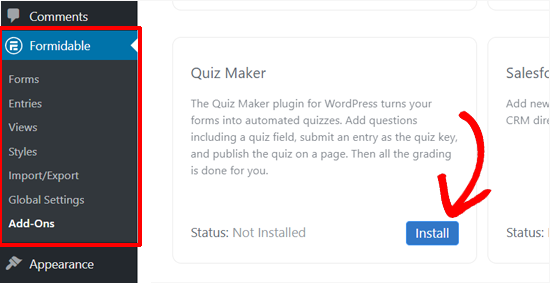 Instalar Formidable Forms Quiz Maker