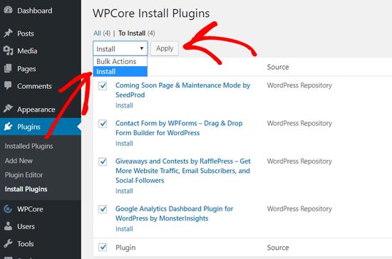 Instale complementos de WordPress en masa con WPCore