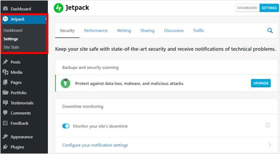 Jetpack'in özünə məxsus WordPress blogunda xüsusiyyətləri