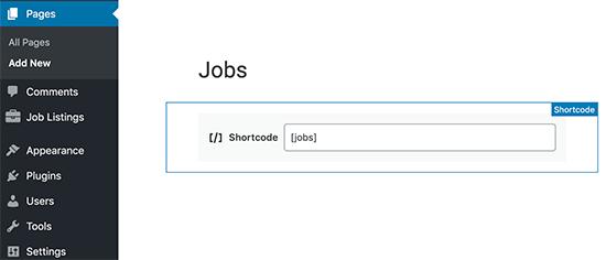 Agregar un shortcode de trabajos