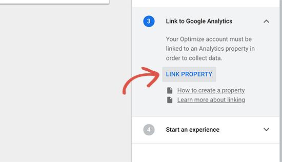 Liên kết thuộc tính Google Analytics