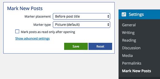 Marcar la configuración de nuevas publicaciones