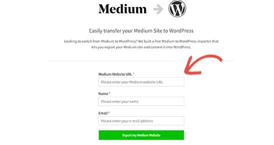 Ingrese la URL de su blog medio