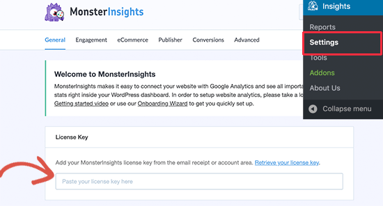 Clave de licencia de MonsterInsights