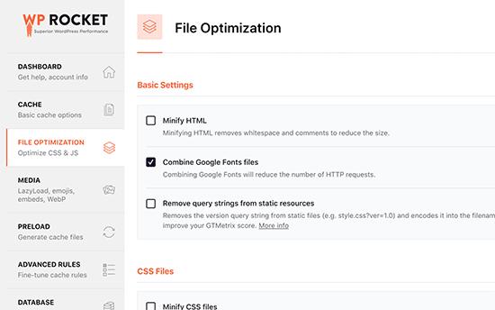Reducción de archivos en WP Rocket