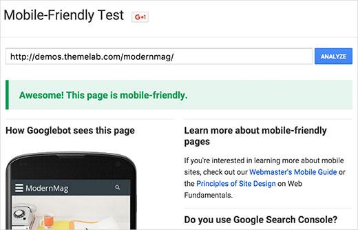 Google Mobil Uyğunluq Testi ilə cavab mövzusunu sınayın