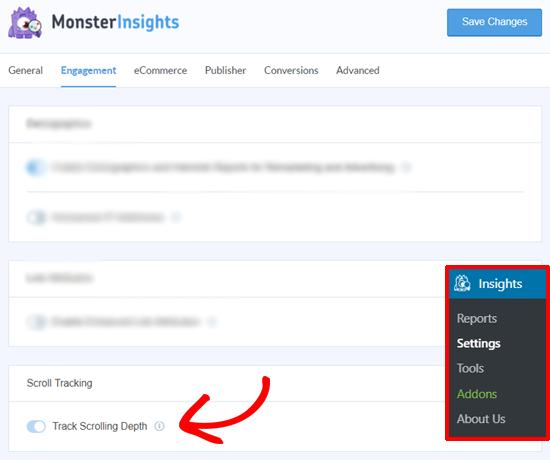 Opción de seguimiento de profundidad de desplazamiento de MonsterInsights