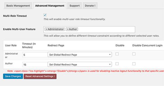 Configuración de tiempo de espera de usuario inactivo de múltiples funciones