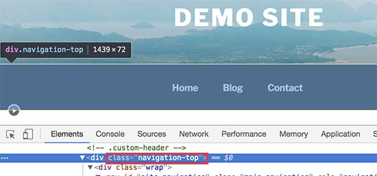 Encontrar la clase CSS para el contenedor del menú de navegación