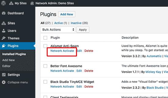 Doplnky pre sieťovú aktiváciu na viacerých stránkach WordPress