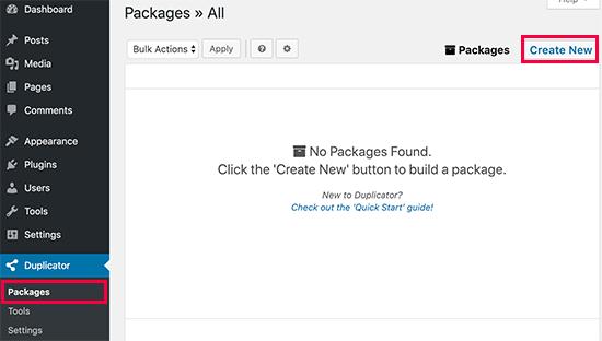 Crea un nuevo paquete Duplicator
