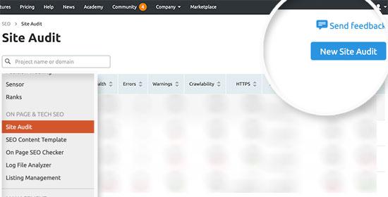 Agregar una nueva auditoría de sitio en SEMRush