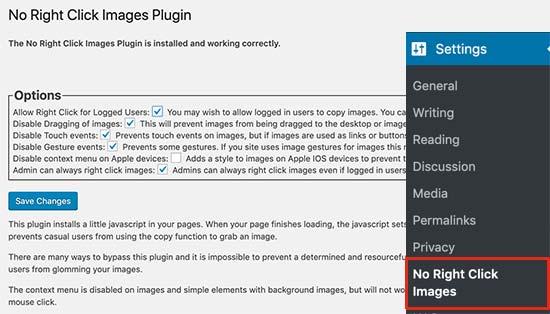 No hay ajustes de imágenes de clic derecho