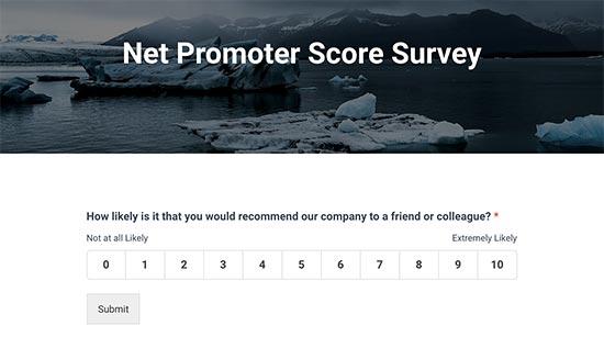 Vista previa de la encuesta Net Promoter Score
