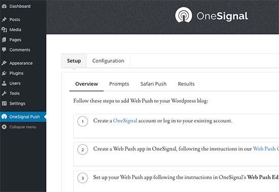 Stranica za konfiguraciju OneSignala