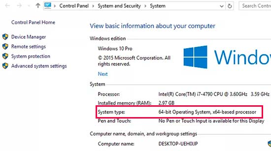 Tìm loại sistema operativo  trong Windows 10