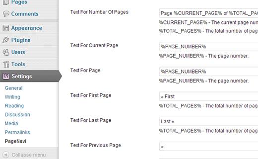 WP-PageNavi parametrlərini konfiqurasiya edin