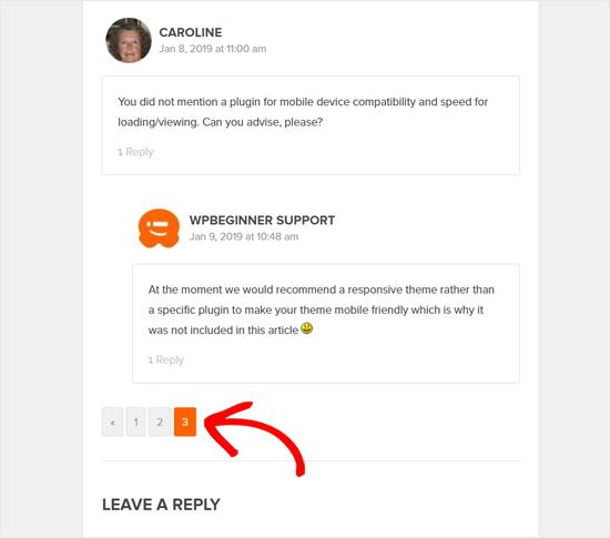 WPBeginner-də WordPress şərhinin səhifəsi