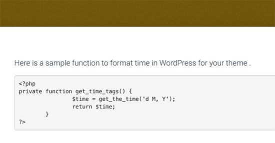 Mã PHP được hiển thị trong WordPress