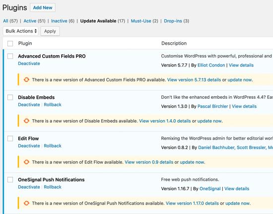 WordPress Plugin Update uno a la vez