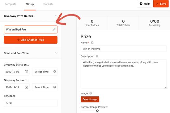 Ingrese el título del premio y los detalles