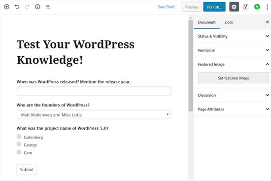 Publique su cuestionario en WordPress