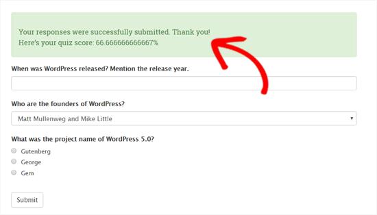 Puntuación de la prueba mostrada en WordPress