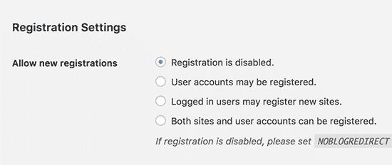 Nastavenia registrácie viacerých stránok WordPress