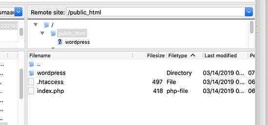 Directorio raíz con una carpeta separada de WordPress dentro
