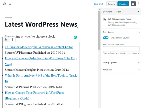 RSS News Feed Agregado en la página de WordPress