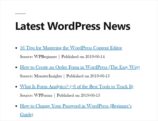 RSS News Feed en WordPress Site Demo