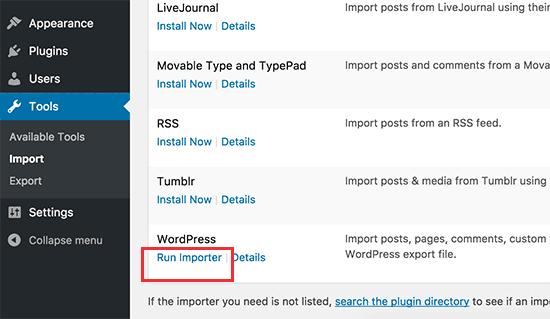 Ejecutar importador de WordPress