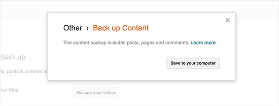 Salve o conteúdo do backup no seu computador