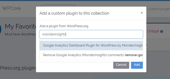 Tìm kiếm plugin để thêm vào bộ sưu tập plugin WPCore của bạn