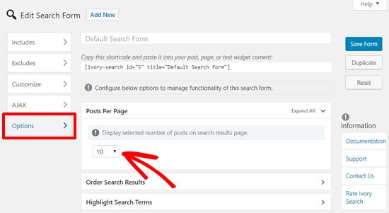 Definir resultados de búsqueda por página en el complemento de búsqueda de marfil