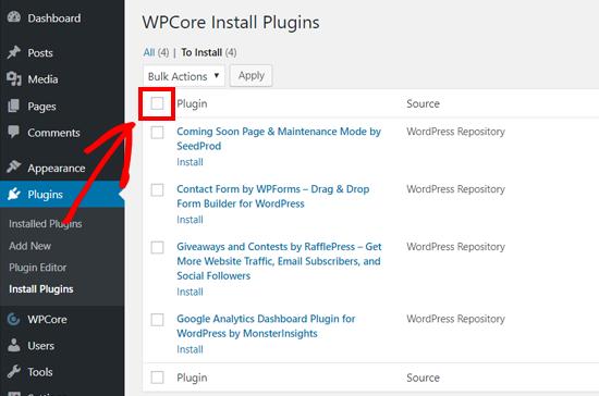 Seleccione todos los complementos para la instalación masiva en WordPress con WPCore
