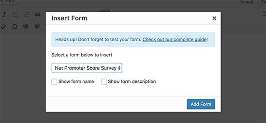Seleccionar formulario de encuesta