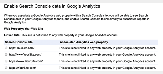 Seleccione la propiedad de Google Search Console