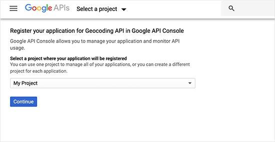 Seleccione su proyecto de Google Maps