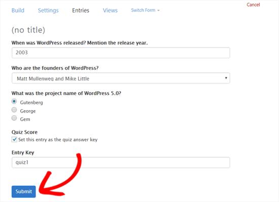 Establezca respuestas correctas para su cuestionario de WordPress formidable