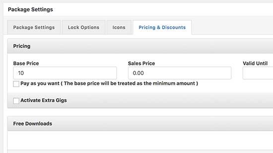 Establecer opciones de precios