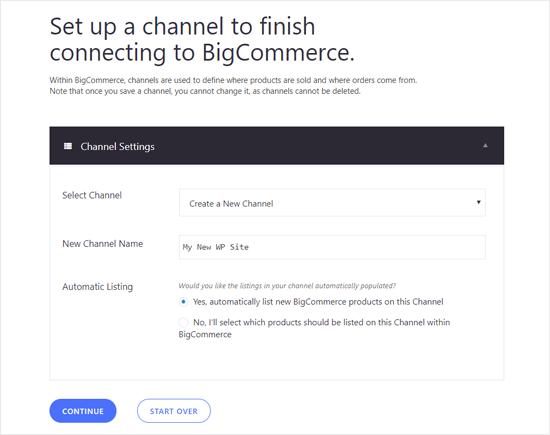Configure un canal para el sitio de WordPress en BIgCommerce
