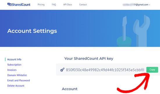 SharedCounts.com API Açarı