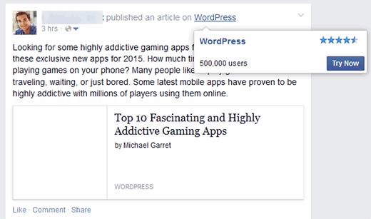 Una publicación compartida en Facebook utilizando el módulo de publicidad de JetPack