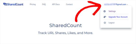 SharedCounts.com hesabı